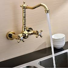 solid brass kitchen faucet ti pvd finish solid brass wall mount centerset kitchen faucet