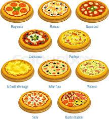 cuisine types pizza icons pizzeria menu elements vector pizza types margherita
