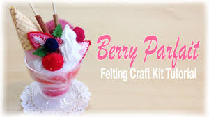 strawberry parfait sundae japanese felt crafting kit tutorial