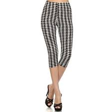 summer style capri black white houndstooth pattern capri cut leggings pants summer