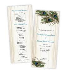 peacock wedding programs program tea length a j s prints