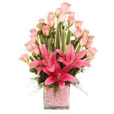 Flower Arrangement Powered By Pink Standard Gift Glass Vase Arrangement Of 20 Pink