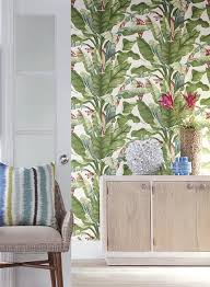 york wallcoverings home design banana leaf wallpaper in green and red design by york wallcoverings