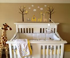 Giraffe Baby Decorations Nursery by Gray Yellow White U0026 Tan Nursery With Giraffe And Elephant Decal