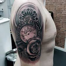 mind blowing pocket watch design tattoo mens upper arms tatto