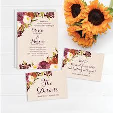 rustic burgundy wedding invitation set wedding invite rsvp