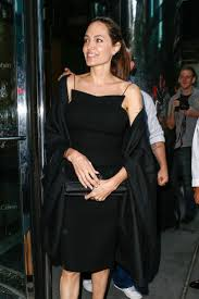 angelina jolie in black dress out for dinner in new york