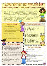 english worksheet possessives i you he she vs my your his