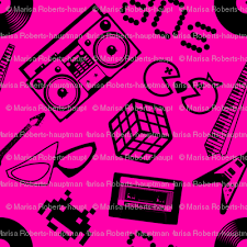 80s icons on pink fabric risarocksit spoonflower