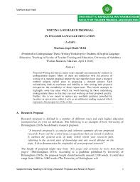thesis about education in english writing a research proposal in english language education