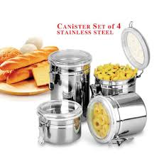 kitchen stainless steel candy jar airtight sealed canister dry