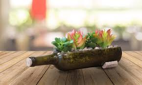 Wine Bottle Planters by 38 Off On Reclaimed Wine Bottle Planter Groupon Goods