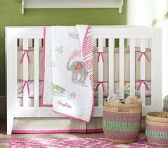 jungle safari baby bedding set bright pink pottery barn kids