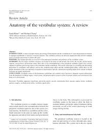Ear Anatomy And Function Anatomy Of The Vestibular System A Review Pdf Download Available