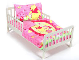Winnie The Pooh Bedroom Set Pink Winnie The Pooh Bedding Theme On White Stained Wooden Bed
