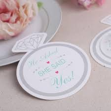 wedding coaster favors she said yes diamon shape paper coaster wedding bridal shower