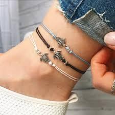 ankle bracelet images Sea turtle ankle bracelet silver anklet beaded anklet black jpg