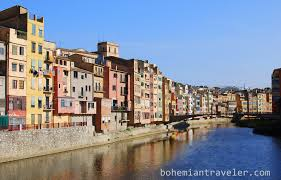 colorful building colorful houses of girona spain