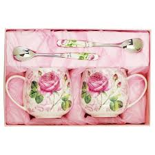 roses pattern 1 pair ceramic coffee mug sets gift ideas