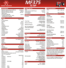 massey ferguson mf 375 tractor specifications