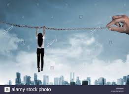 Water Challenge Asian Asian Business Person Hanging On Chain Business Challenge Concept