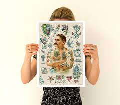 old tattoo inspired design decor tattoo art giclee poster