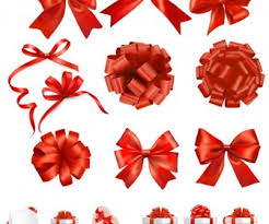 christmas bows for presents decorative bows and present boxes vector vector graphics