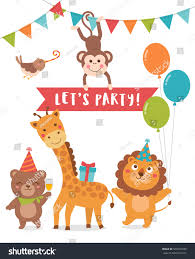 Party Invitation Cards Designs Cute Animals Cartoon Illustration Text Lets Stock Vector 565520230