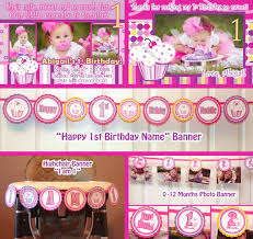 baby girl 1st birthday themes lil cupcake banner 1st birthday party package 1 year birthday