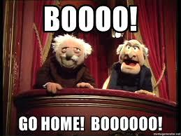 Waldorf And Statler Meme - boooo go home boooooo statler and waldorf box meme generator