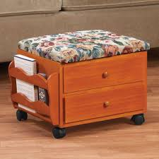 Wooden Ottomans Rolling Wooden Ottoman Storage Tapestry Top 2 Drawers Side Pocket