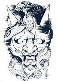 hannya mask samurai tattoo japanese demon mask drawing at getdrawings com free for personal