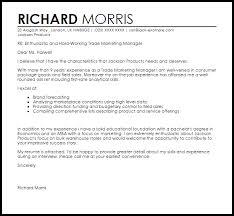 trade marketing manager cover letter sample livecareer
