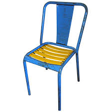 Blue Bistro Chairs French Blue And Yellow Painted Metal Bistro Chairs By Tolix At 1stdibs