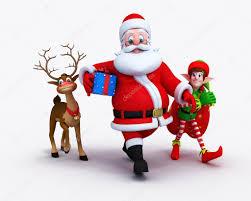 santa claus with elves and reindeer u2014 stock photo pixdesign123
