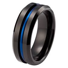 black wedding band mens blue wedding ring tungsten wedding bands tungstenweddingbands