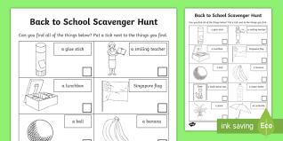 back to scavenger hunt activity sheet treasure hunt