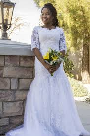 saria lace modest wedding dress with sleeves