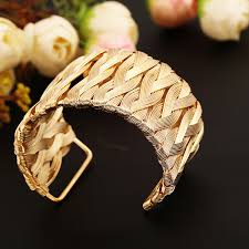 weave wrap bracelet images Star jewelry punk style cuff bangles gold metal wrap weaving gold jpg