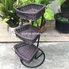 washable pe rattan supermarket 3 tier fruit stand with black