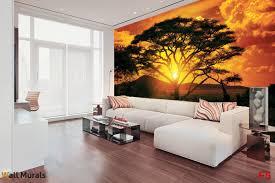 mural african savanna with a giraffe at sunset photo mural african savanna with a giraffe at sunset