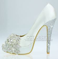 wedding shoes rhinestones free shipping brand peep toe lace satin white rhinestone wedding