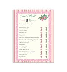 guess who shower game bridal shower game pink stripes tea
