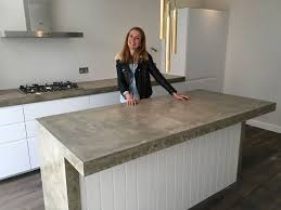 Kitchen Island With Hob And Sink Walthamstow Polished Concrete Kitchen Worktop In Situ Cast
