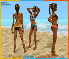 Liana Sims 2 Preview Women S Clothing Swimwear Mod The Sims Floral Bikinis Collection Bangles For Teens