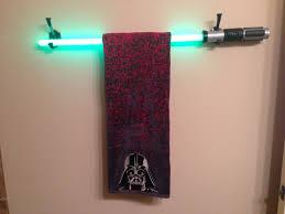 star wars bathroom makeover with a diy light saber towel bar