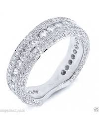 womens engagement rings womens 18k white gold diamond flat shank wedding band