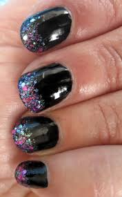 pick me black glitter tips manicure