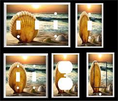 beach light switch covers sea shell sunset ocean tropical sandy beach light switch cover plate
