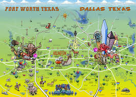 map of dallas fort worth dallas fort worth map painting by kevin middleton